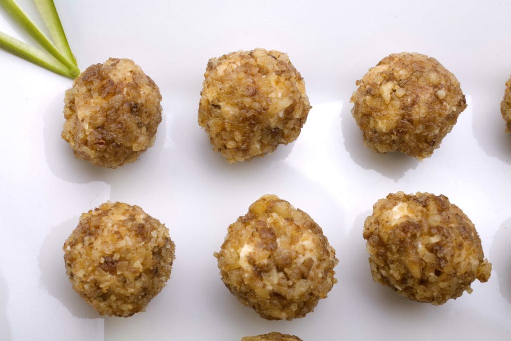 Bolitas de queso gouda y nuez caramelizada