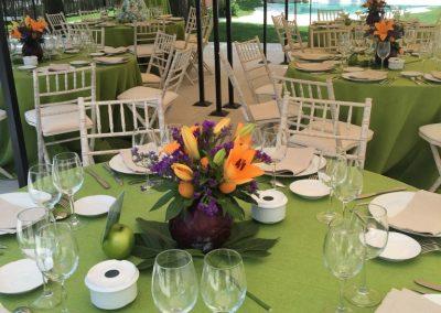Mesa preparada sobre mantelería verde